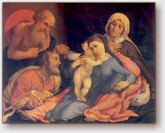 Lorenzo Lotto, Sacra famiglia con i santi Girolamo, Anna e Gioacchino, Firenze, Uffizi, 1534