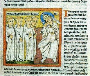 S. Gregorio che raccoglie testimonianze su S. Benedetto - Da i miracoli di S. B. 1437, Chantilly, Museo Condé