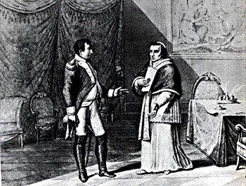 Pio VII tratta con Napoelone per il Concordato nel 1813 - Incisione di G. B. Cecchi